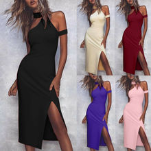 цена на Women Choker High Neck Sexy Bodycon Dress Summer Butt Wrapped Party Dress Plus Size