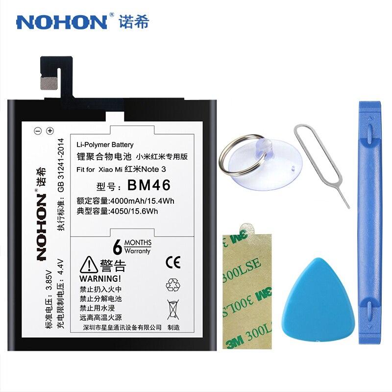 D'origine NOHON Batterie BM46 Pour Xiaomi Redmi Note 3 Hongmi Note3 Pro 4000 mah 4050 mah Au Lithium Remplacement Bateria Livraison outils