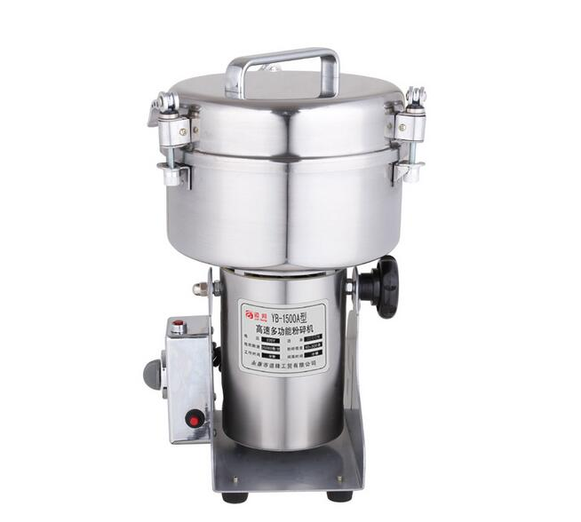 YB-1500A (1500g) Medicine Spice Herb Salt Rice Coffee Bean Cocoa Corn Pepper Soybean Leaf Mill Powder Grinder Grindig Machine