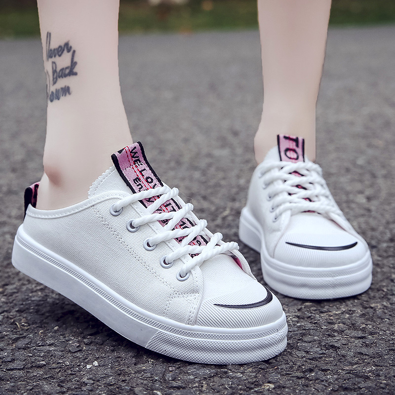2018 Fashion Women Vulcanized Shoes Sneakers Ladies Lace-up Casual Shoes Breathable Walking Canvas Shoes Flat Shoes dagnino women flat lace up breathable trainers casual walking shoes all match white canvas shoes print woman sneakers footwear
