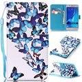 Impressão colorida bolsa carteira de couro pu capa do livro flip case para samsung galaxy j5/j3 j5 j7 2016 phone case w/alça de transporte