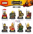 Single Gladiatus Medieval Knights Rome Commander Fighters Female Highland Warrior building blocks figure bricks toy for children