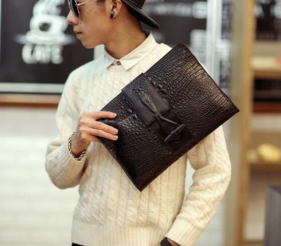 New Bag Men New Fashion Men Crocodile Clutch Bag Black Leisure Envelope Bag Business Small Phone Bags Cases Clutch Designer