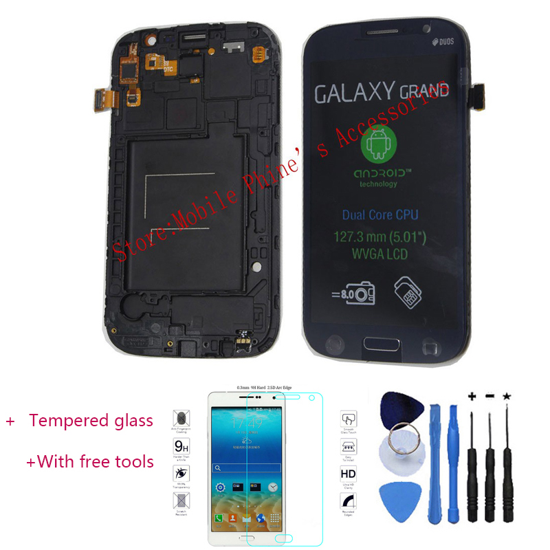 OEM LCD Touch Screen Digitizer + Frame Replacement For Samsung Galaxy Grand Duos i9082 i9080 Black+With free tools