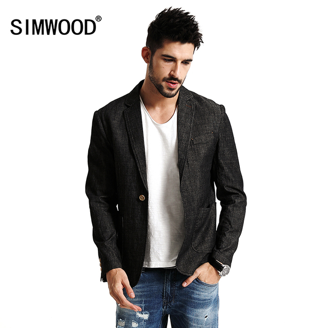 SIMWOOD 2017 Новая Весна Случайный Тонкий дизайн Блейзер Мужские Костюмы Мода Куртка Slim Fit 100% Чистого Хлопка XZ6113
