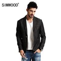 SIMWOOD 2018 Nowa wiosna Dorywczo Cienka Marynarka projekt Mężczyźni Garnitury Moda Kurtka Slim Fit 100% Czystej Bawełny Plus Size XZ6113