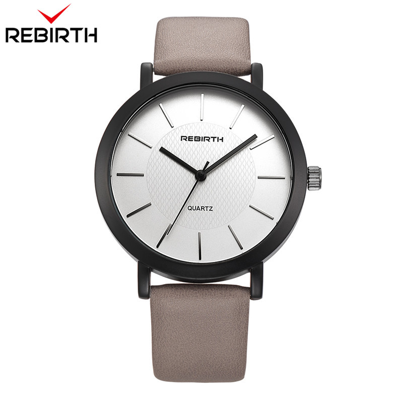 Lovers REBIRTH Top Brand Men Women Watches Lovers Casual Mens Watches Simple Quartz Leather Strap Clock Sport Male Wrist Watch