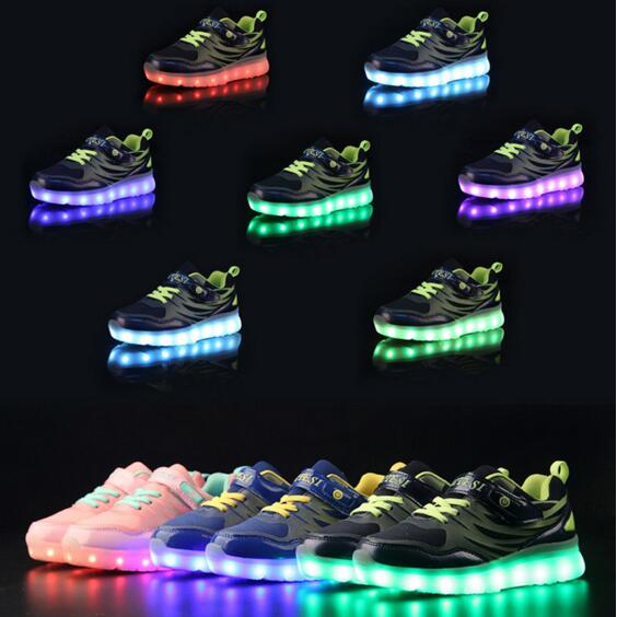 Glowing Sneakers LED Light Shoes Boys Girls USB Luminous Mesh Shoes Children