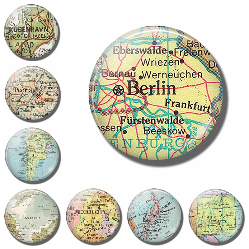 Fridge Magnet Refrigerator-Stickers Note-Holder Glass-Cabochon Frankfurt Berlin Germany