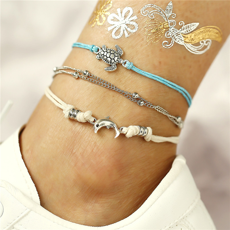 Bohemian Turtle Beads Anklet Set Silver Anklets For Women Ankle Bracelet On Leg Chain Barefoot Foot Jewelry Holiday Accessories