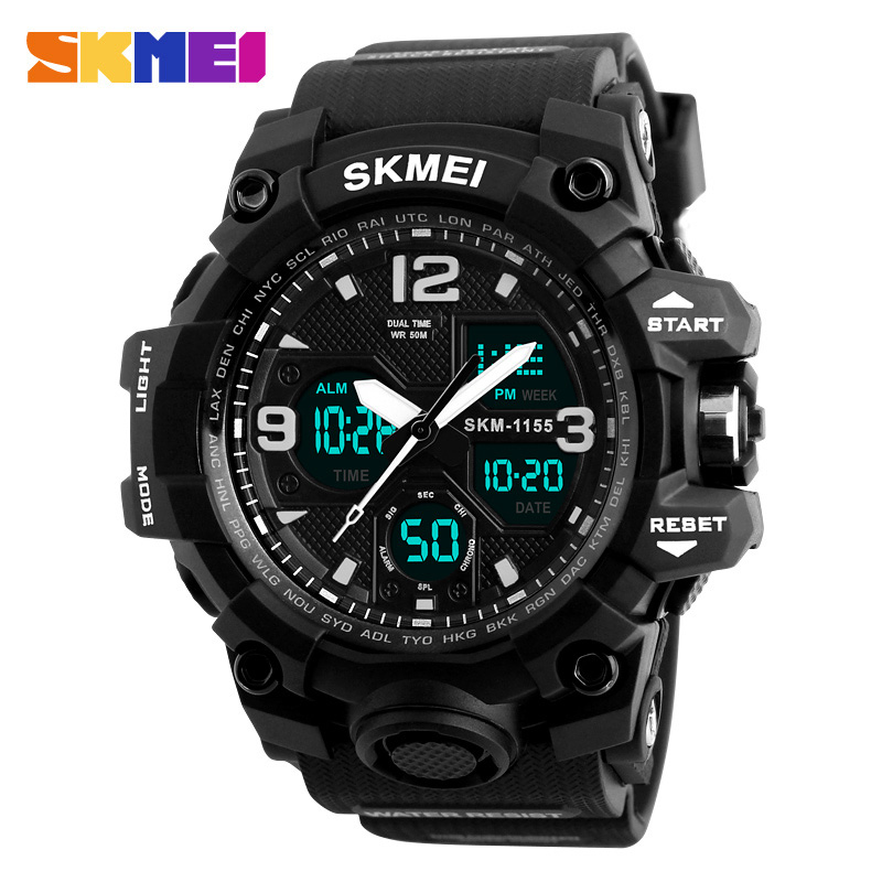 SKMEI Men Sport Watches Digital Chronograph Double Time Alarm Watch 50M Watwrproof EL Light Wristwatches Relogio Masculino 1155B