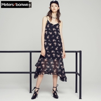Metersbonwe brand lady chiffon holiday dress with flounces summer new style