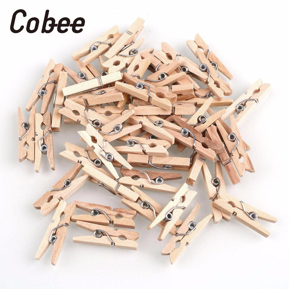 150PCS/Lot Mini Natural Wooden Clothes Photo Paper Clothespin Craft Clips 25mm Home Wooden Clothes Spring Clips