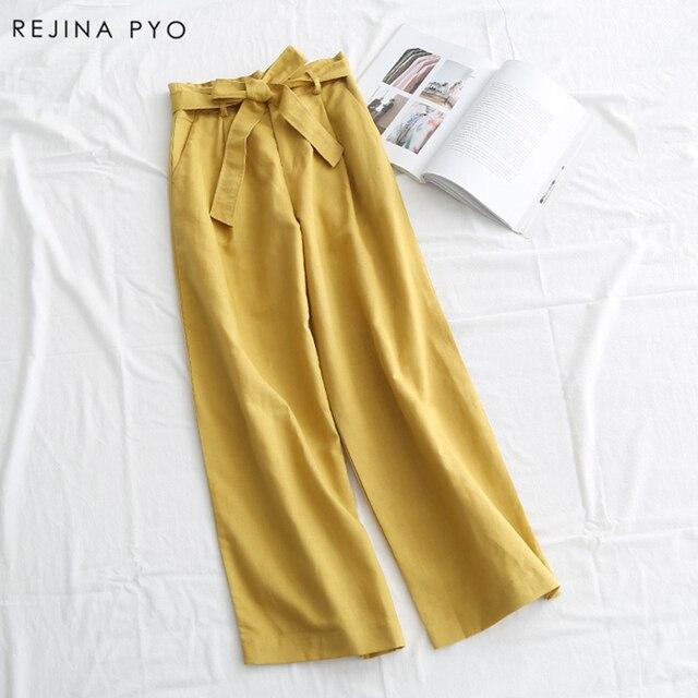 Rejina гнойно японский Стиль Для женщин Сплошной свободные широкие брюки ноги аль-матч лук пояса Высокая талия женские повседневные брюки из хлопка новый