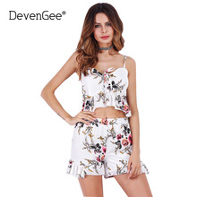 DevenGee Sexy Ruffles Women 2 Piece Set Suit 2017 Floral Print Crop Top and Shorts Skirt Two Piece Set Summer Women Clothing Set