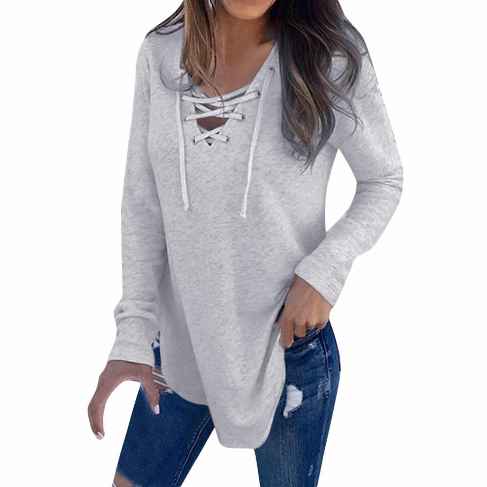 Dropship Spring Bouse Women V Neck Long Sleeve Shirt Strap Solid Top Autumn Linen Loose Casual Sport Girls Full Blouse 0309