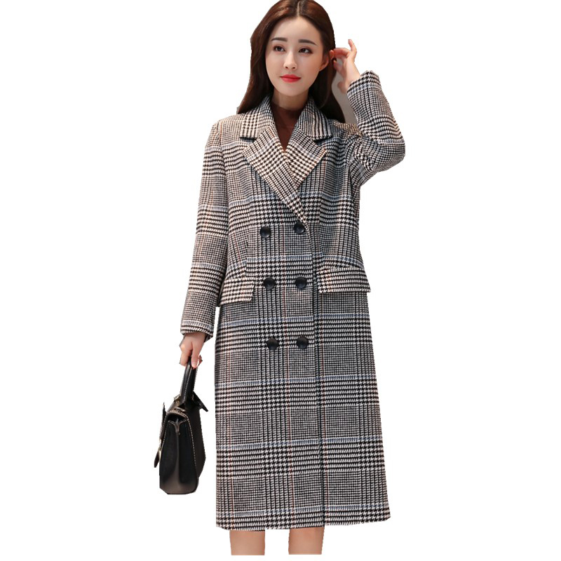 High-quality retro plaid thick woolen coat female long section of autumn and winter new Korean loose suit collar coat холодильник атлант хм 6221 100 белый двухкамерный