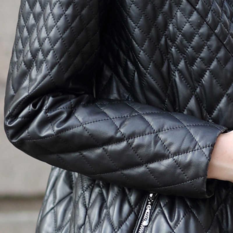 AYUNSUE 2019 Winter Jacke Frauen Echtem Schaffell Mantel Lange Warme Leder Jacke Fuchs Pelz Kragen Baumwolle Gepolsterte Oberbekleidung FXH6077B