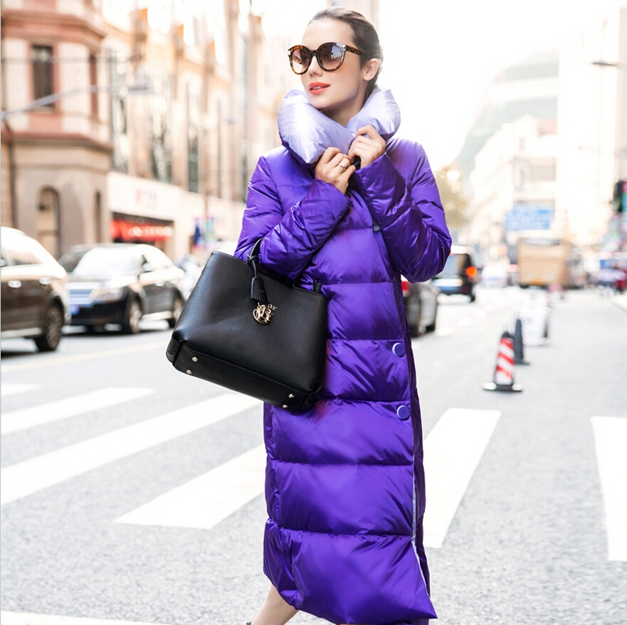 2017 Latest Fashion Women Winter Long coat Stand collar Thickening Super Warm cotton jacket Super Slim Big yards Long Coat G2018