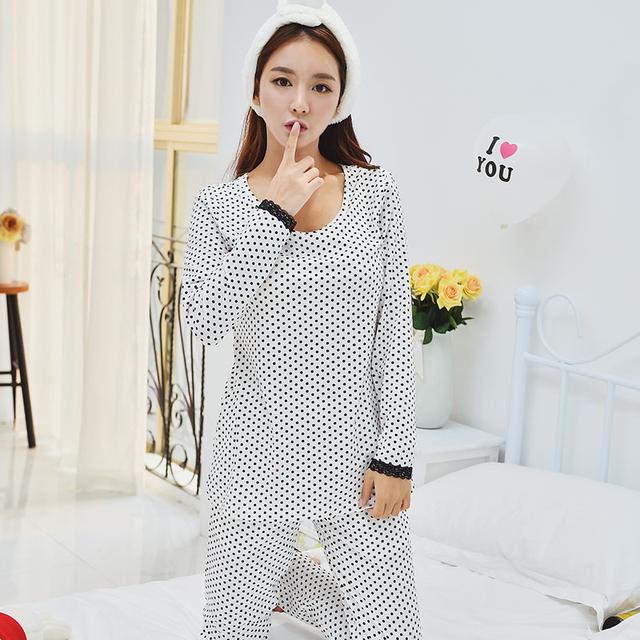 New Womens Branco Polka Dot Algodão Pijama De Cetim Conjunto de Pijama Pijamas Set Pijamas Loungewear M, L, XL Plus Size _ _ Fit All Seasons