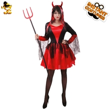 DSPLAY Womens Devil Costume Adult Sexy Female Halloween Dress Wicked Horns  Ladies Outfit(China) 8ca4a0b0ba2f