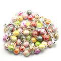 Fashion 8 mm round acrylic bead rosary, catholic rosary necklace silver plated stitches
