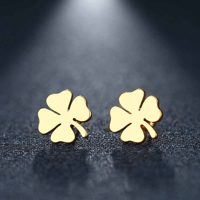 DOTIFI Stainless Steel Stud Earring For Women Man Clover Gold And Silver Color Lover's Engagement Jewelry Drop Shipping(China)