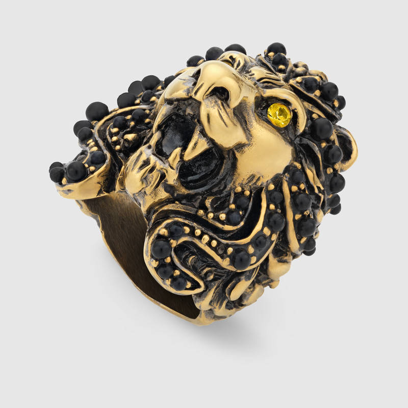 362062fb0 Rongho brand Vintage Pearl statement lionhead rings for women punk jewelry  crystal animal ring antique gold ring-in Rings from Jewelry & Accessories  on ...