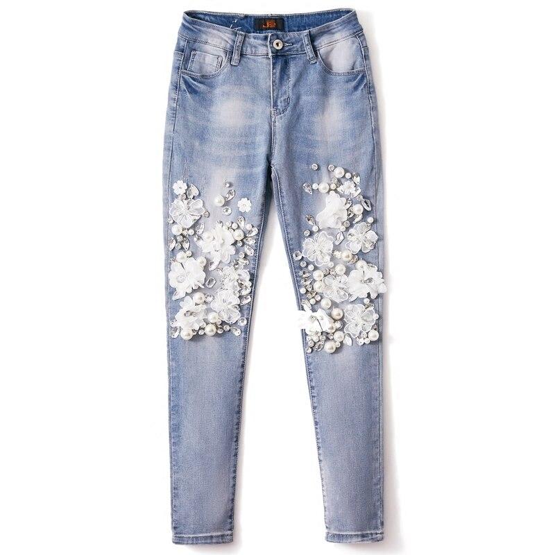 Denim Stretch pantalon Slim crayon femme pierres lourdes mode européenne diamant perle Jeans dentelle fleur pantalon