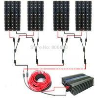 Большой США стиль солнечной комплект: 600 Вт 4*150 Вт моно солнечные панели системы с 500 Вт 24 В/120 В сетевой инвертор # *