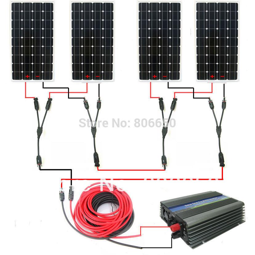 Large USA style solar kit :600w 4*150w mono solar panel system with 500W 24v/120v grid tie invertor# *