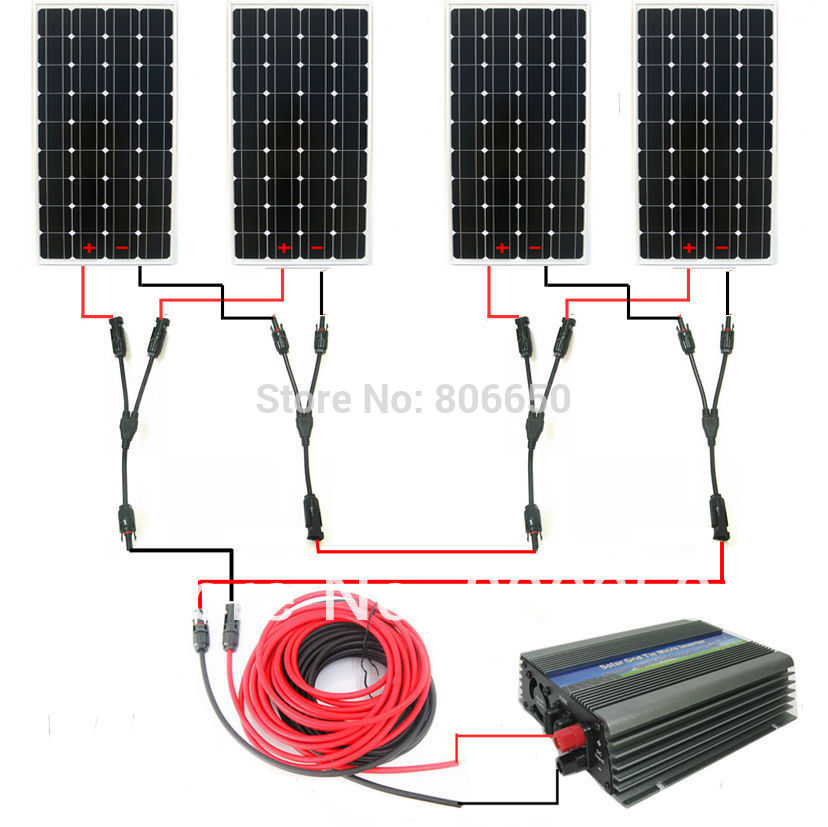 Large USA style solar kit :600w 4*150w mono solar panel system with 500W 24v/120v grid tie invertor# * au eu usa stock complete kit 600w solar panel cells off grid system 600w solar system for home free shipping