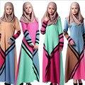 Novo Muçulmano Vestido Geometria Patchwork Vestidos de Trajes Robe Dubai Mulheres Muçulmanas Abaya Jilbab Turco Tradicional Vestuário #033