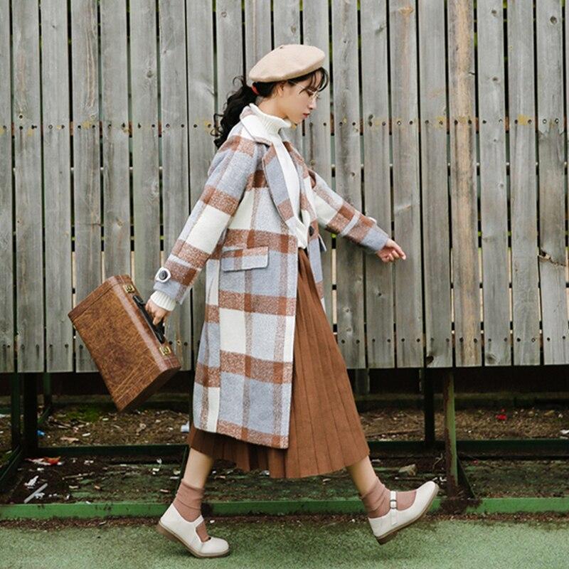 Manteau de laine femmes hiver veste longue femelle de plaid de laine manteau plus de velours épaissir mode sauvage de femmes de laine manteaux femme
