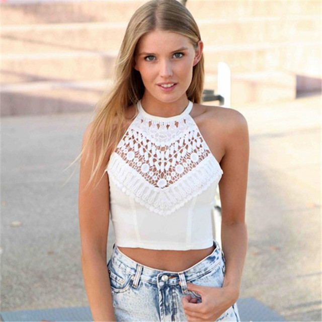 ddff31d8842 Fashion Sexy Women Cross Spaghetti Strap Hollow Out Crochet Backless Casual  Tops Plus Size Crop Top