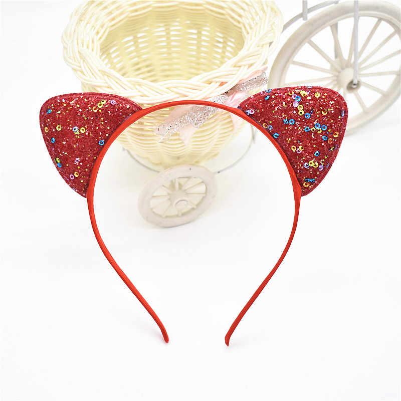 Piękny genialny cekiny instrukcja uszy kota z pałąkiem na głowę dla panny z pałąkiem na głowę opaski do włosów kid akcesoria do włosów dla kobiet 1 sztuk