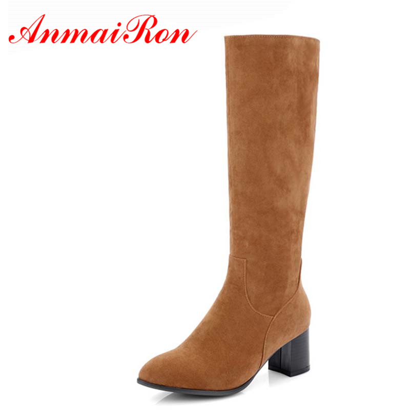 ANMAIRON New Women Large Size 34-46 Mild-calf Boots for Women High Heels Round Toe Zippers Winter Warm Boots Platform Shoes