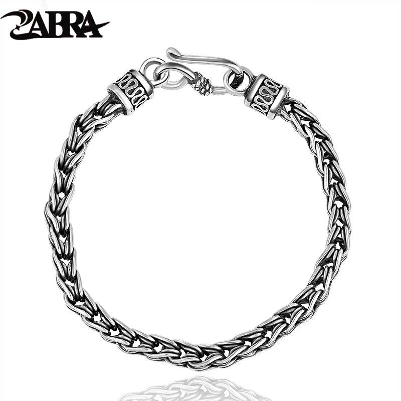 ZABRA luxe en argent Sterling hommes Bracelet poignet Thai argent 925 Bracelets homme Punk Vintage bijoux cadeau