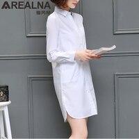 AREALNA 2017 Autumn Women Long White Blouse Korean Style Female Solid Elegant Blusas Ladies Office Long