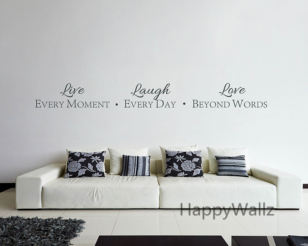 Motivational Quote Wall Sticker Live Every Moment Laugh Every Day Love  Beyond Words DIY Quote Wall Part 90