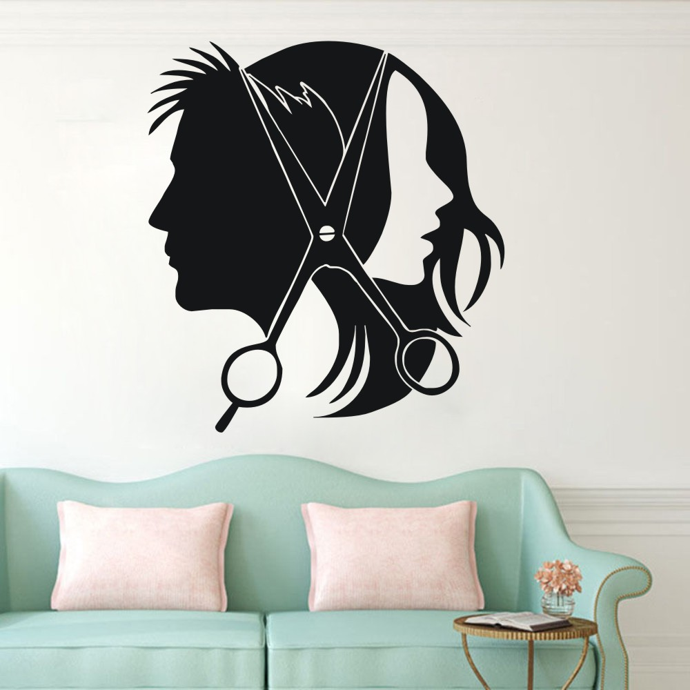 Hair Salon Barber Shop Wall Decal Art Vinyl Sticker Interior Window Decor DIY Beauty Vinilos NY-353