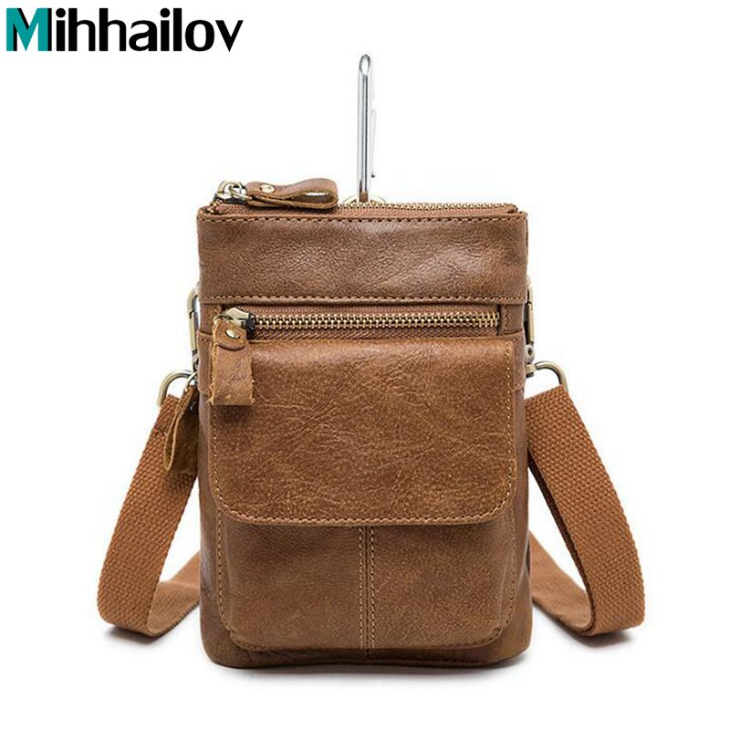 Genuine Leather Bag Men Bags Leather Belt Waist Pack Men Messenger Bags Male Phone Small Flap Male Shoulder Crossbody Bag XS-65