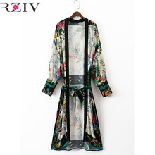RZIV 2017 summer female blouse casual shirt floral print kimono style shirt and long sections