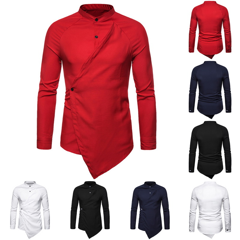 2019 New Brand Button Down Irregular Long Sleeve Shirt Men Fashionable Solid Color Shirts Casual Slim Fit Male Party Clothes