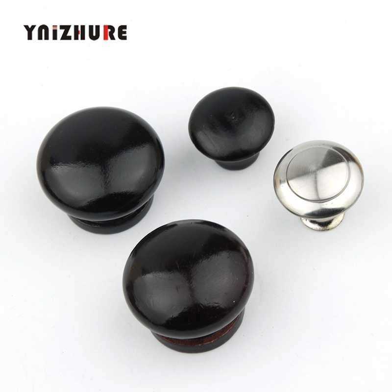 Black Furniture Natural Wood Cabinet Drawer Pull Wardrobe Beech Round Door Knobs Cupboard Handles With Screws