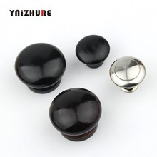 Black Furniture Natural Wood Cabinet Drawer Pull Wardrobe Beech Round Door Knobs Cupboard Handles With Screws(China)