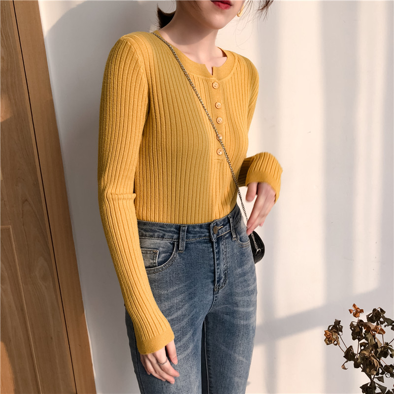 Colorfaith Women Pullovers Sweater New 19 Knitted Autumn Winter Spring Fashion Sexy Elegant Buttons Casual Ladies Tops SW9065 10
