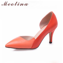 Natural Genuine Leather Shoes Women Pumps Pointed Toe Party Stiletto High Heels Female Cutout Orange Shoes Large Size 40 42