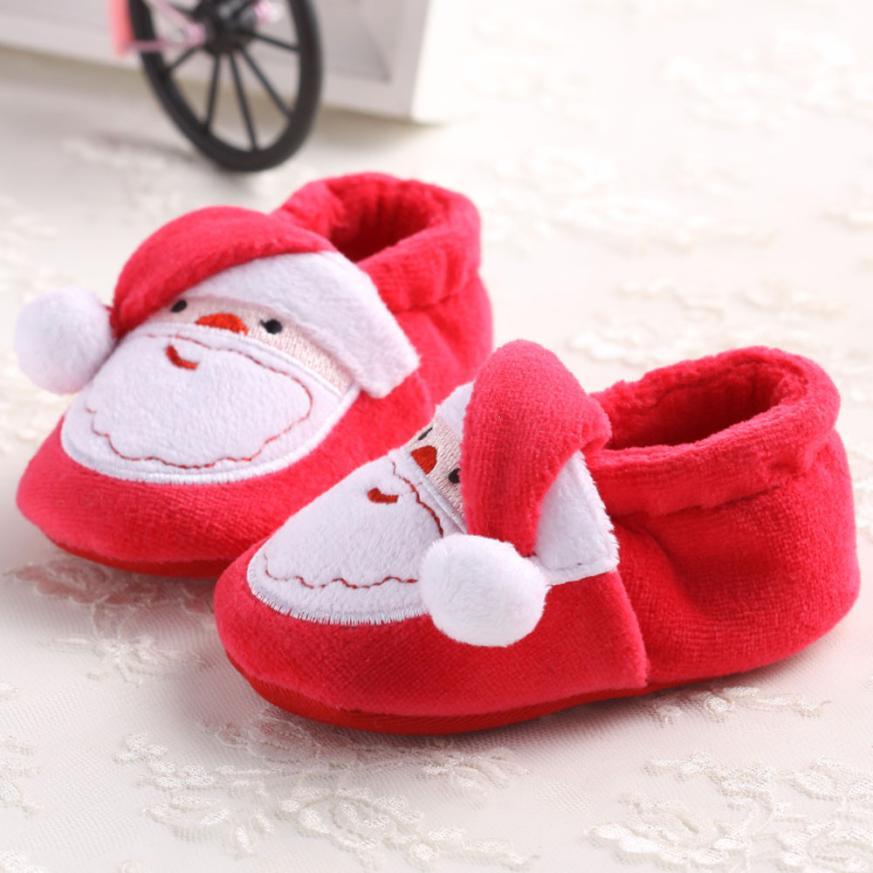 2017 Toddler Infant Newborn Santa Claus Soft Sole Baby Girl Boy Prewalker Shoes BFOF