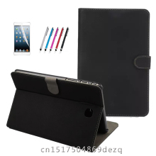 "Retro frosted tablet cuero de la pu case para samsung galaxy tab a 9.7 t550 sm-t555 p550 9.7 ""book cover case + film + pluma"